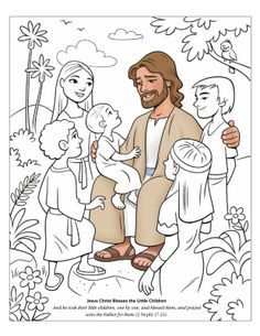 Jesus With The Children Coloring Page