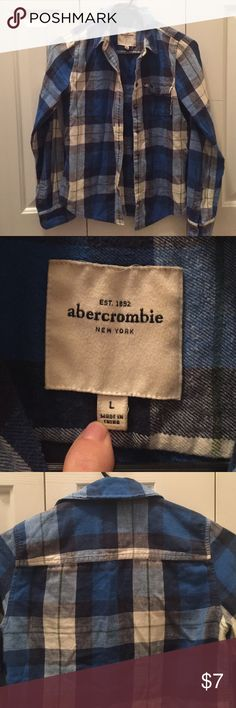 Abercrombie Flannel Shirt Blue & White buttoned Flannel. Super cute! Quality material! abercrombie kids Shirts & Tops Button Down Shirts