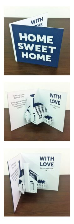 Home sweet home pop up house, new home card for a friend