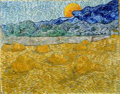 Vincent Van Gogh (Dutch, 1853-1890) Landscape With Wheat Sheaves and Rising Moon 1889