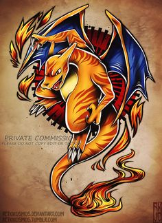 commissioned tattoo design for use by schnellyjohn only! --- drawn with: Paint Tool Sai Photoshop STORE Charizard Tattoo, Pokemon Tattoo, Pokemon Charizard, Charmander, Mudkip, Cool Pokemon Wallpapers, Cute Pokemon Wallpaper, Pokemon Sketch, Pokemon Fan Art