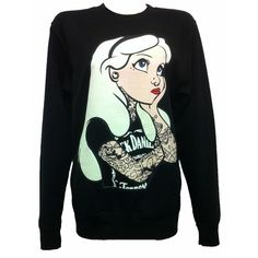 Punk Disney Alice In Wonderland Rebel Tattoo Sweater Jumper Top gothic... ❤ liked on Polyvore featuring tops, sweaters, shirts, disney, disney sweaters, jumper shirt, jumper top and goth sweater