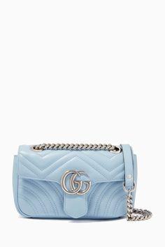 Blue Gucci Bag, Blue Purse, Blue Bags, Gucci Shoulder Bag, Small Shoulder Bag, Blue Handbags, Purses And Handbags, Gucci Marmont Mini, Gg Marmont