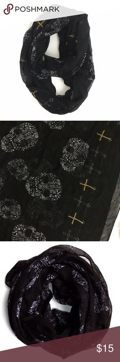 Rock & Republic Black Skull Print Infinity Scarf Really cool circle scarf. The brand tag is missing, otherwise perfect gently used condition. Skull details with rhinestones. Rock & Republic Accessories Scarves & Wraps