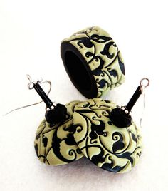 Earrings and a ring by Daniela (dr. fimo), polymer clay.