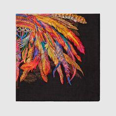 Gucci Women - Gucci Feathers print black wool shawl - $595.00