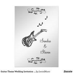 "Guitar Theme Wedding Invitation  5"" x 7""   50% off"