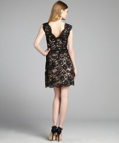 Wyatt : black lace scalloped v-neck sleeveless dress : style # 321704201