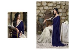 Velvet blue color pallu looks stunning with heavy embroidered  off white net saree & also with elegant blouse piece