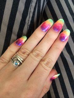 Acid rainbow nails