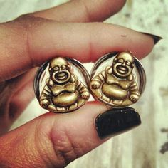 Antique Golden Buddha Plugs 00g10mm 3/419mm by MedusaMetals, $25.00