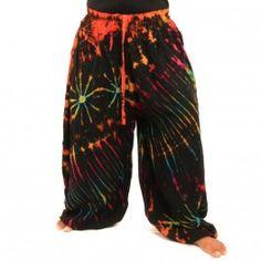 Batik pantalones de rayón-
