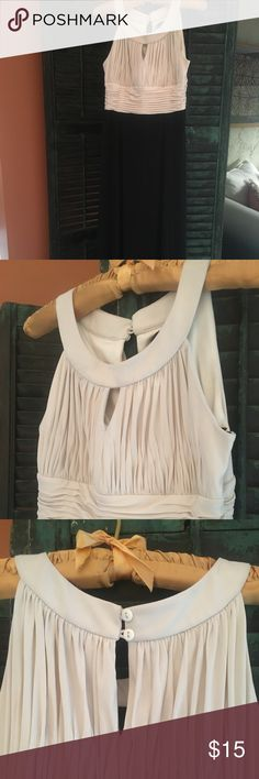 Petite Floor Length Dress PETITE floor length dress. Beige top with black bottom. Very comfortable. 95% polyester/5% Spandex Dresses Maxi