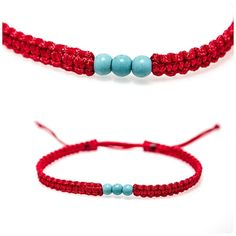 Tiny Red Kabbalah Macrame Bracelet Red String Bracelet Protected Bracelet With Natural Turquoise Beads Red Thread Lucky Bracelet Red String Bracelet, Face Earrings, Macrame Bracelets, Bracelet Sizes, Ear Studs, Turquoise Beads, Perfect Fit, Tape, Jewelry