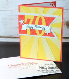Large-numbers-70-birthday-card-sunburst-thinlit-die-stampin-up-pattystamps-irresistible 70th Birthday Card, Birthday Cards For Men, Male Birthday, Special Birthday, Alphabet Stamps, Masculine Birthday Cards, Milestone Birthdays, Homemade Cards, Stampin Up Cards