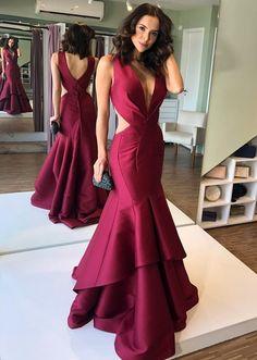 Burgundy deep v neck tiered satin evening dresses Gala Dresses, Wedding Dresses, Formal Evening Dresses, Beautiful Dresses, Party Dress, Satin, Outfits, Style, Chicken Marsala