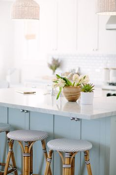 10 Steps To a French Bistro-Inspired Dream Kitchen - Style Me Pretty Living Blue Kitchen Island, Blue Kitchen Cabinets, Painting Kitchen Cabinets, Kitchen Design, Kitchen Decor, Kitchen Ideas, Kitchen Colors, Kitchen Styling, Light Blue Kitchens