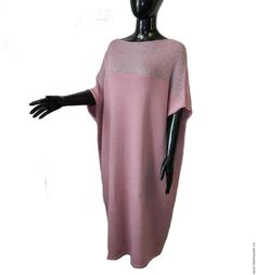 Купить Платье комбинированное из мериноса и кид-мохера - бледно-розовый, платье вязаное, Платье красивое