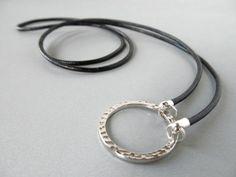 Black Leather Glasses Lanyard Black Eyeglass Lanyard by HalfSnow
