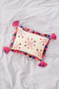 Folky Embroidered Pillow