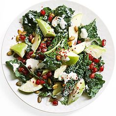 "Crunchy Kale, Apple and Pomegranate Salad by: Rocco DiSpirito from his book ""The Pound a Day Diet"" (Family Circle magazine May 2014)"
