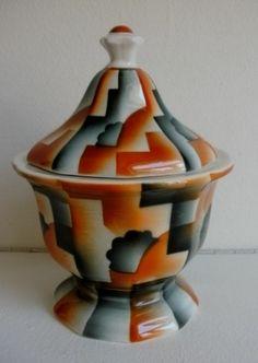 Deckeldose Art deco Bauhaus Colditz Spritzdekor