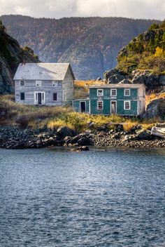 Just like Minnie Newhook's (Little Gramma) house! Cool style name: Newfoundland abandoned Outport Homes. Saltbox style.