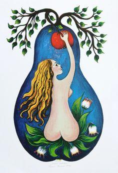 Emma Srncová Illustrators, Rooster, Illustration Art, Animals, Vintage, Artists, Fotografia, Apples, Painters