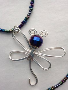Purple beaded dragonfly necklace, dragonfly pendant, handcrafted metallic purple and silver dragonfly, made in USA by FreeStyles on Etsy