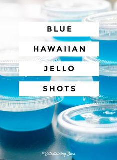 This Blue Hawaiian jello shot recipe with Malibu rum is to die for! I love the combination of pineapple juice and coconut rum...almost like a blue pina colada! The blue color is perfect for summer and my 4th of July party.