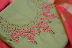 Bullion knot rose embroidery for kurti - Simple Craft Ideas Embroidery On Kurtis, Kurti Embroidery Design, Floral Embroidery Patterns, Hand Embroidery Videos, Hand Work Embroidery, Embroidery On Clothes, Embroidery Flowers Pattern, Rose Embroidery, Bullion Embroidery