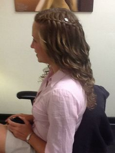 Waterfall Braid, Curly, Bridal Hairstyles www.hairdesigners.ca Bridal Hairstyles, Cute Hairstyles, Something Beautiful, Hair Designs, Health And Beauty, Waterfall, That Look, Braids, Curly