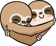 'Sloth Heart' Sticker by miszasta Sloth Drawing, Baby Drawing, Drawing For Kids, Cute Baby Sloths, Cute Sloth, Animals Images, Cute Animals, Doodles Kawaii, Sloth Tattoo