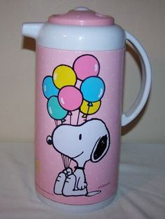 Vtg. Peants Characters Snoopy Woodstock Pitcher Carafe Thermos 1958-1965