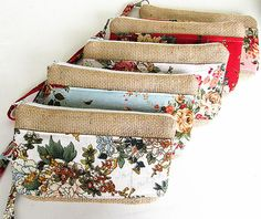 5 Burlap wristlets burlap clutches bridal cluth by burlapshop, $95.00