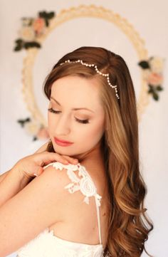 Scalloped Fresh Water Pearl Bridal Head Band by AnnaMarguerite