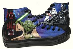 Items similar to Custom Painted Star Wars Inspired Converse Hi Tops shoes sneakers All sizes on Etsy - Star Wars Shoes - Ideas of Star Wars Shoes #starwars #shoes #starwarsshoes - Custom Converse, Custom Sneakers, Custom Shoes, Painted Converse, Painted Shoes, Star Wars Shoes, Dr Shoes, Tahitian Black Pearls, Star Wars Gifts