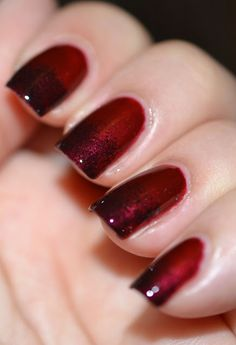 Red & Black Gradient the base color is China Glaze Bohemian Chic and the gradient is made Kicks Black Calvados
