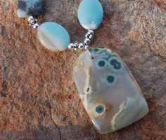 Amazonite and Silver Necklace with Ocean Jasper by cherries33