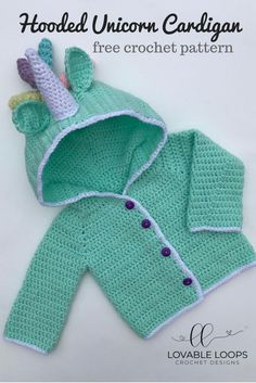 Free Hooded Unicorn Cardigan for Baby Crochet Pattern. months - months Free Hooded Unicorn Cardigan for Baby Crochet Pattern. Crochet Baby Cardigan Free Pattern, Crochet Baby Blanket Beginner, Crochet Baby Sweaters, Baby Sweater Patterns, Baby Clothes Patterns, Baby Girl Crochet, Crochet Baby Clothes, Baby Patterns, Crochet For Kids