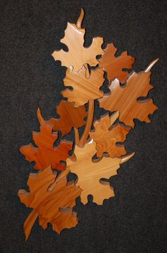 LEAVES intarsia art carving NEED THIS WITH ALL OUR NAMES ON THEM :)