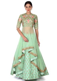 Indian lehenga=Green lehenga with long embroidered blouse only on Kalki Indian Attire, Indian Ethnic Wear, Indian Outfits, Indian Designer Outfits, Designer Dresses, Green Lehenga, Lehenga With Long Choli, Blouse For Lehenga, Kids Lehenga