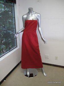 CHAIKEN Red Strapless Full Length Evening Dress 8 | eBay