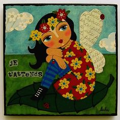Dreaming Fairy Seated On Leaf 8 X Giclee PRINT Of Painting By LuLu Mypinkturtle