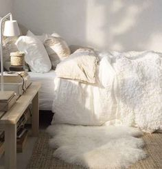 Throw down an extra fuzzy bedside rug to make things easier for your feet in the morning.