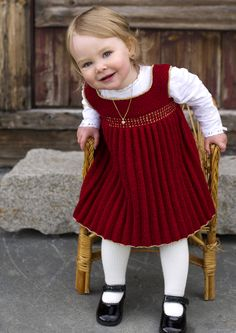 A beautiful red knit dress for a toddler age girl! Dalegarn 270 Baby