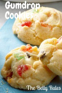Gumdrop Cookies - My Recipe Magic christmas gumdrops No Bake Cookies, Yummy Cookies, Holiday Cookies, Cookies Et Biscuits, Recipe For Gumdrop Cookies, Cake Cookies, Holiday Treats, Christmas Treats, Cookie Desserts
