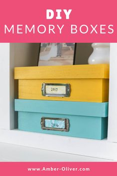 Create colorful DIY memory boxes for a creative way to store items by year. #keepsakes #storage #memorybox