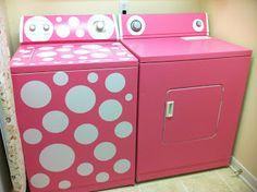 Baby Cakes: DIY Pink-Polka Dot washing machine - wonder if I'd like doing laundry any better if I blinged out my machines?