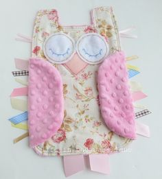Baby Girl Gift OWL Ribbon Tag Blankie in Roses Flannel and Pink Minky Blanket Lovey Lovie